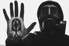 This is not a drill.  209-366. (FadeToBlackLP) Tags: mono portrait canon samyang 50mm tunnel doubleexposure photoshop creative taken hand palm man gasmask