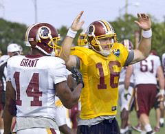 Washington Redskins Richmond Training Camp NFL Football  Colt McCoy Quarterback 16 touchdown (watts_photos) Tags: washington redskins richmond training camp nfl football colt mccoy quarterback 16 touchdown touch down score ryan grant 14 wide receiver pro canon wr