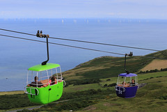 Great Orme Cable Cars (zeity121) Tags: wales llandudno conwycountyborough conwy orme greatorme greatormecablecar cablecars windpower sea windturbines windmill seaside