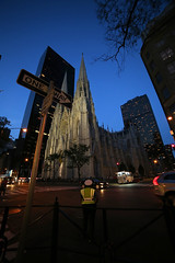St. Patrick's Cathedral (Vanessa Bittante) Tags: art buildings outdoor streetphotography bluesky sunset architecture history church stpatrickscathedral newyork nyc ny canon6d samyang urbanphotography urban top of the rock topoftherock usa night monument heritage culture landscape romantic