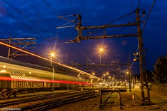 the red line (Lichtbildidealisten.) Tags: longexposure colors varberg sweden train driveby railway bluehour