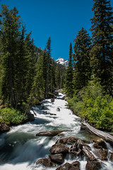 Waterfall - Inspiration Point - Grand Teton National Park - Wyoming - 20 June 2016 (goatlockerguns) Tags: mountains grandtetonnationalpark wyoming waterfall river stream mountain nationalpark park usa unitedstatesofamerica nature natural west western lake string jenny trail forest trees