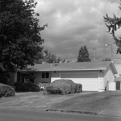 The Neighborhood Secret (T-Terror) Tags: mediumformat mamiyac330 bw blackwhite kodaktmax100 epsonv500 d76 square 80mm vintage tmx old eugeneor eugene oregon car driveway house mystery secret cammo