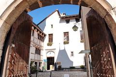 Medieval Castle Entrance (zinnia2012) Tags: castle archway cobblestones shadows lantern sky windows aigle switzerland zinnia2012 entre gates medieval architecture chteau
