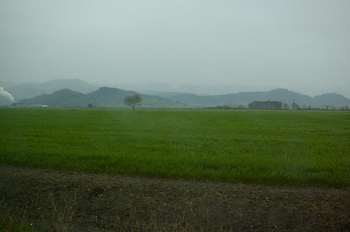 Overcast and misty farmlands near the western start of the byway
