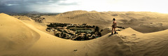 On the edge (MastaBaba) Tags: sky panorama cute peru water girl yellow sand sandboarding babe oasis ios boarding huacachina icloud 20150221