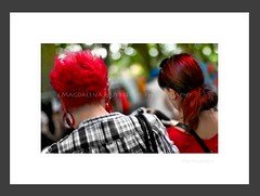 IMG_9733mhFF-1024 (magdalena huybreghs) Tags: city red people woman color fashion portraits hair women candid painted streetphotography colored