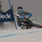 Tait Jordan (WMSC) racing to bronze in men's 1-run GS at Silver Star U14 Provincials
