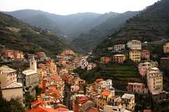 Riomaggiore (mhaardiraes) Tags: city travel sea italy tourism town spring fishing mini cliffs hills genoa cinqueterre riomaggiore tiltshift acrofarming