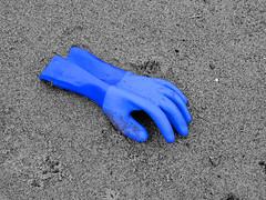 Blue Rubber Glove (tubblesnap) Tags: blue bw white black color colour beach coast spot rubber glove sailor jolly selective skegness