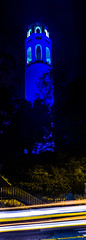 warriors advance to the western conference finals (pbo31) Tags: sanfrancisco california blue panorama motion black color tower basketball yellow night dark golden spring nikon traffic state may large panoramic finals pro warriors telegraphhill nba stitched coit d800 2015 lightstream boury pbo31 westernconference