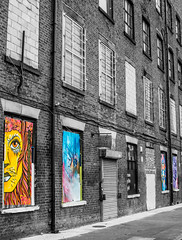 art in the mill windows contrasts (PDKImages) Tags: urban streetart art mill abandoned beauty lady contrast manchester graffiti eyes colours anger lips fortune hidden angry drama fortuneteller unexpected teller liom