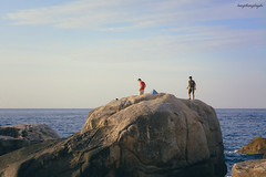 On a Peak (langthangdaydo) Tags: ocean travel blue light red sea sky people seascape man men beach water sunshine yellow rock stone sunrise relax island living seaside asia waves waterfront outdoor stones top explorer wave peak bluesky vietnam adventure ridge human summit traveling wilderness backpacker comb wilder milestone milestones easten eastsea traveler seawater easternmost