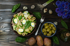 Fresh Spanish potato salad with tuna, still life (breamchub) Tags: wood people stilllife food color green cooking vegetables yellow dinner table lunch cuisine restaurant leaf salad lemon healthy moody eating rustic egg plate vegetable gourmet business indoors spanish potato homemade slice meal basil dining onion appetizer cooked tuna parsley scallions boiled serving herb freshness yolk crockery roasted refreshment alternatives prepared foodphotography