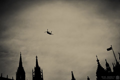 Mike Barrett Photography - The Force of the Protection (Mike Barrett Photography) Tags: street city winter england urban london clouds buildings cityscape military streetphotography housesofparliament westyorkshire capitalcity chinookhelicopter