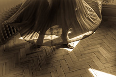Pleats (cathbooton) Tags: light people sunlight beautiful composition photography clothing movement exposure shadows dancing antique indoor skirt shade twirl canoneos edit pleated pleats mycanon canonusers