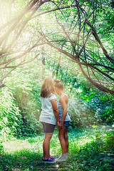 (Rebecca812) Tags: girls summer portrait people sunlight childhood vertical forest canon children friendship sweet secret innocent fulllength fresh twopeople lushfoliage canon5dmarkii rebecca812