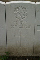 P. Kelly, Connaught Rangers, 1914, War Grave, Poperinghe (PaulHP) Tags: cwgc ww1 world war 1 first great belgium grave marker headstone military cemetery p patrick kelly private service number 4305 3rd november 1914 connaught rangers 2nd bn battalion poperinghe old ireland co galway balliansloe