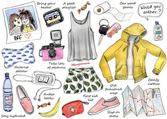 Road trip - Cindy Mangomini for Hello Giggles (Cindy Mangomini) Tags: illustratedhowto illustration illustratedlife mangomini cindymangomini watercolor watercolour drawing handdrawn hellogiggles fashion fashiondrawing fashionillustration summer summerstyle ontheroad trip roadtrip roadtripstyle travelstyle roadtripillustration roadtriptips