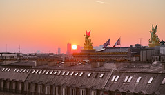 Rooftop, sunset and architecture in Paris (hebiflux) Tags: ifttt 500px opera ladefense rootops sunset paris france cityscape light window flags