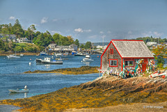 Maine Lobster Shack (pandt) Tags: baileyisland maine lobster shack ocean boat island water seaweed sky beach rocks clouds hdr canon eos 7d outdoor landscape coastal harbor mackerelcove house newengland seaside harpswell buoyant yearend16 boats window trees summer fishing fisherman lobsterman red color buoy