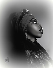 AshantiPunk 6 (Busha_b) Tags: rastafarian steampunk goggles turban 12tribes profile portrait headshot london fashion jamaican model monochrome aged tribal makeup cogs hss