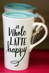 A  Cup Of Happiness (sarahellenspringer) Tags: words letters black white drink happy happiness latte coffee 7dwf
