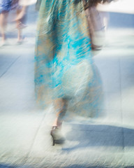 Street Motion Turquoise (Marian Bayley) Tags: street summer motion blur vancouver streetphotography icm intentionalcameramovement