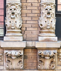 Charles Street, Greenwich Village, New York City (Hunky Punk) Tags: city nyc usa ny newyork streets stone architecture buildings apartments open faces manhattan stonework cities charles carving mouths neighborhoods grotesque greenwichvillage greenman corbels hunkypunk spencermeans