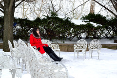 Red Winter Liberty (madgratter) Tags: winter snow newyork statue liberty chairs hedge libertyisland redcoat
