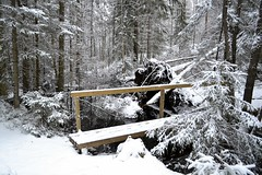 Bridge over a forest brook SW of Lake Kolmper (Espoo, 20120107) (RainoL) Tags: bridge winter snow forest espoo finland geotagged january u brook fin nuuksio 2012 uusimaa nyland esbo nuuksionationalpark 201201 kolmper 20120107 geo:lat=6029191500 geo:lon=2459103900