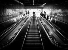 """Don't go into the light Carol Anne!"" (Repp1) Tags: bw canada vancouver bc escalator highcontrast nb escalierroulant contrasteélevé"