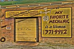 MY FAVORITE MECHANIC IS A WOMAN. (NC Cigany) Tags: auto atlanta woman cars sign shop ga bricks maintenance mechanic