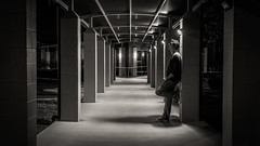 Solitude (ianzmackie) Tags: portrait bw night self solitude alone shadows shot hamilton nz thinking pensive pillars selfie
