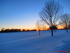 Sunset at the Park (Anton Shomali - Thank you for over 1 million views) Tags: wakepath walk tree photo picture sunset natureshot reflections outdoor outside snow sky bluesky trees sun cold winter farm land perry perryfarm season canon bradley il illinois us usa america blue white orange red ray park camera sunrisesunset coth fantasticnature ice freezing colorful nature interesting
