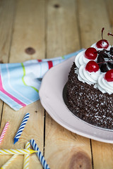 Happy Birthday to Jen! (FujiFilm X-Pro1) (Thainlin Tay) Tags: birthday cake table dessert cherries candles sweet chocolate top cream pastry