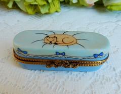 Limoges France Peint Main Porcelain Trinket Box ~ Cat Kitten ~ Artist Signed (Donna's Collectables) Tags: limoges france peint main porcelain trinket box ~ cat kitten artist signed