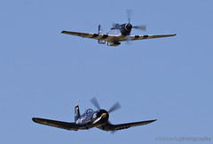 Class of 45 - P-51 Mustang and F-4U Corsair (JetImagesOnline) Tags: air show langley force base joint aircraft fighter jet airshow f4u corsair p51 mustang north american warbirds wwii class 45