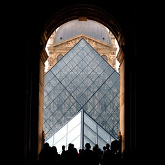 Dj Louvre (Arni J.M.) Tags: new old windows roof shadow people paris france building glass wall museum architecture arch pyramid louvre entrance silhouettes double negativespace sculptures djlouvre