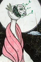 long necked lady (PDKImages) Tags: urban streetart art mill abandoned beauty lady contrast manchester graffiti eyes colours anger lips fortune hidden angry drama fortuneteller unexpected teller liom