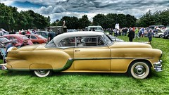 1954 Pontiac Star Chief Catalina Sport Coupe. (ManOfYorkshire) Tags: 1954 pontiac star chief catalina sport coupe car auto automobile deafschool doncaster classic show 2016 gold yellow white restored preserved nostalgia american usa 1950s hydramatic transmission 4800cc chrome style