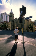 692-BN19/035 (Jock?) Tags: australia queensland brisbane city cbd wickham terrace edward street scene candid documentary afternoon cloudage nikon f3 nikkor 20mmf35ais 20mm fuji fujichrome provia 100f rdpiii color colour e6 slide