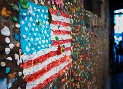 Gum Flag (Mr Moss) Tags: usa america seattle gum chewinggum wall pipe bubblegum streetart flag starsandstripes
