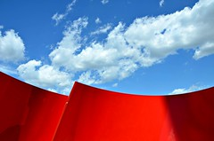 Approaching Red, White and Blue (Pedestrian Photographer) Tags: concord city place toronto ontario canada july 2016 summer sculpture art public street view sky ribbet dsc5377b approaching red white blue maha mustafa