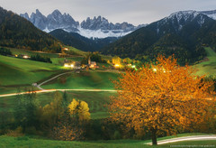 Italy. Dolomites. Moon night in the village of Santa Maddalena (naumenkophotographer.com.ua) Tags: europe italy dolomites trave santa maddalena landscape funes village mountain autumn valley alpine nature tyrol odle church val alps di south magdalena green tourism italian
