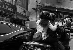 Seoul (bontakun) Tags: city people bw asia korea seoul shops motorcycle vehicle southkorea itaewon