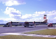 Aug 23 1964 BEA Vanguard G-APEK at Turnhouse Airport (shipcard) Tags: bea foden edinburghairport britisheuropeanairways vickersvanguard vickersaircraft essofueltanker