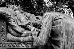 Poroineanu (Eris the Chaos) Tags: blackandwhite bw monochrome beauty cemetery saint angel sadness prayer tomb statues angels purity bellu cimitir cavou bellucemetery serbanvodacemetery