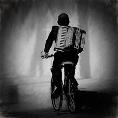 accordion ride (Pejasar) Tags: bw bicycle accordion musicalinstrument tires cobblestone street art monochrome music visualart antigua guatemala