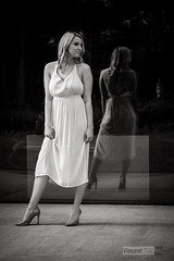 Front to back (Vincent-F-Tsai) Tags: portrait fashion art mono blackandwhite bw monochrome girl pose dress reflection window heels sigma60mmf28dn panasonic lumixg7